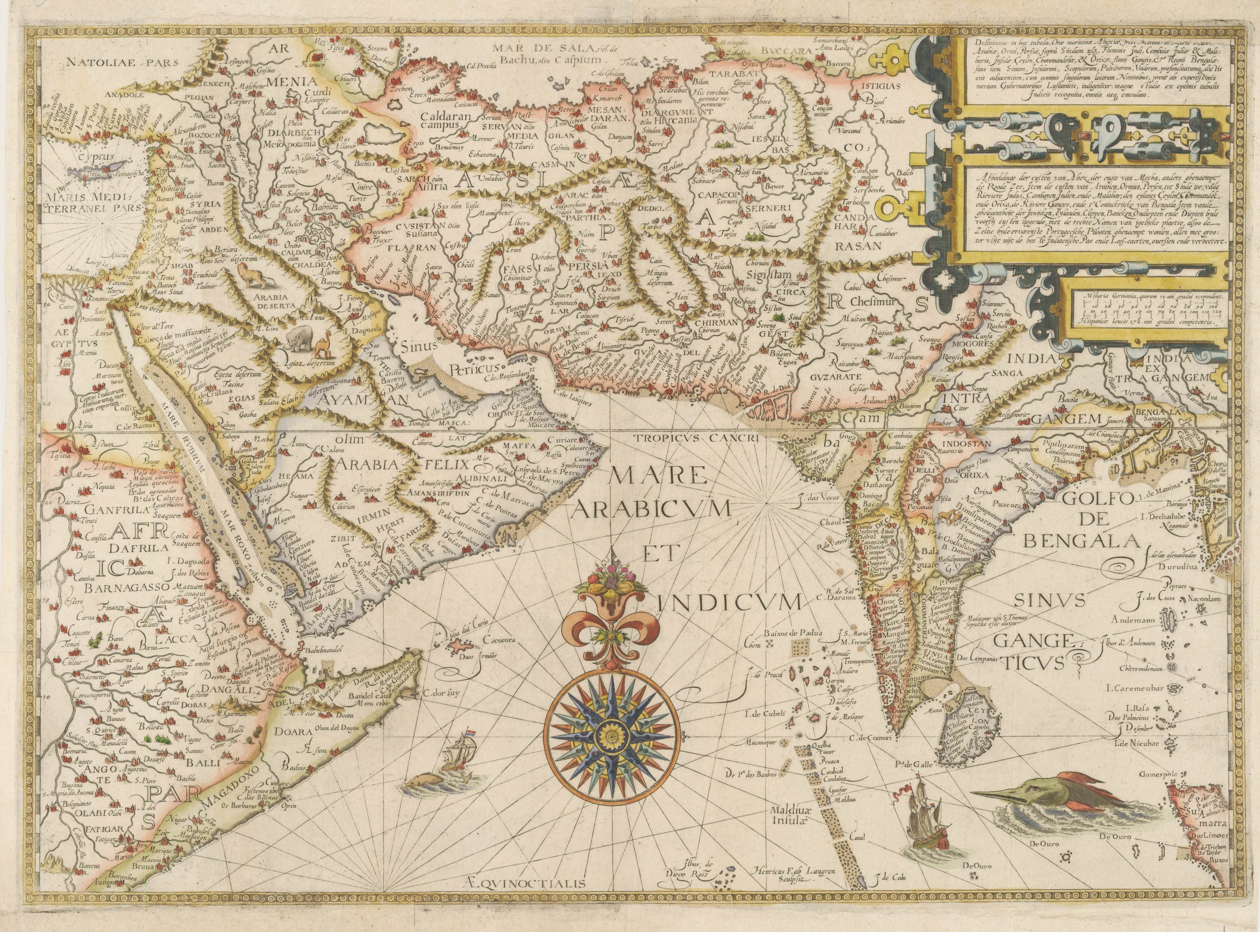 1596 Map of India, Persia and the Arabian Peninsula | MAPS ... Map Of Colorado With Aludes on