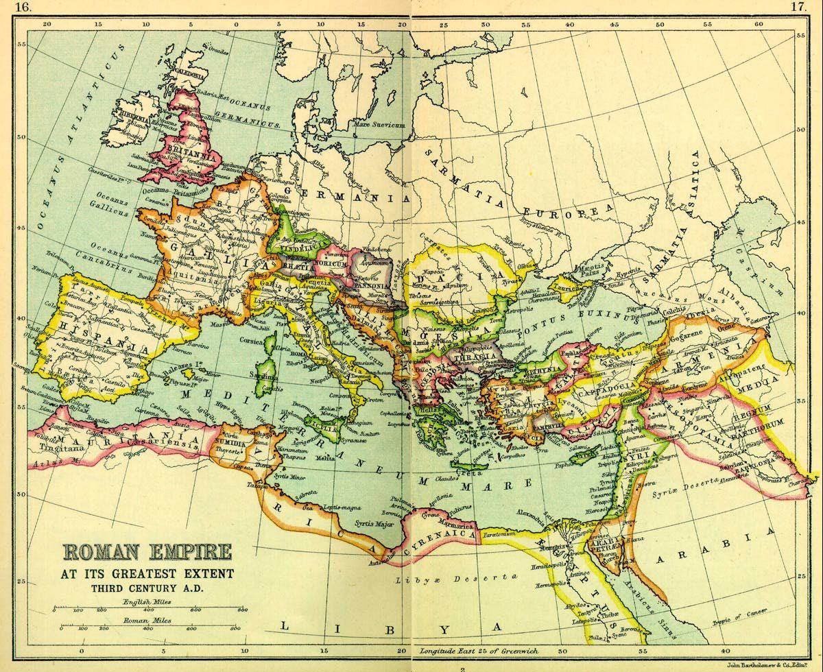 Height Of The Roman Empire Map.Roman Empire At Its Height 117 Ad Under Emperor Trajan Antique
