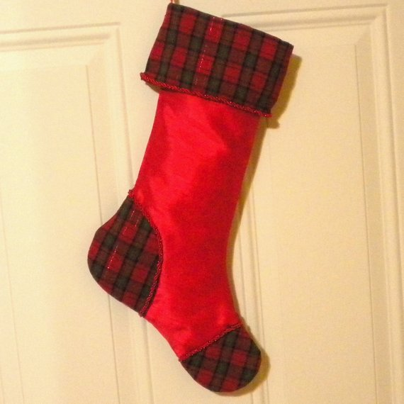 Christmas Stocking in Traditional Red and Plaid in 2018 Products