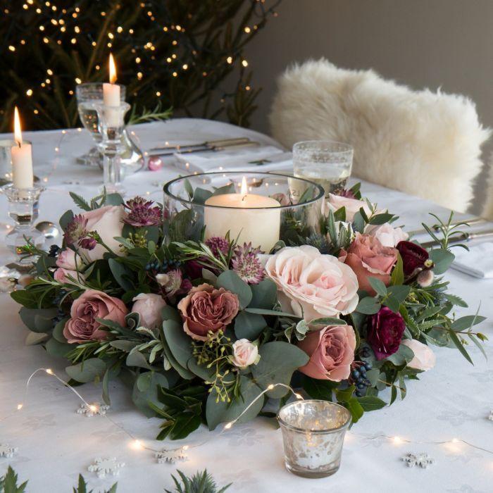 Woodland Antique Fresh Christmas Table Wreath Wystroj Stolu Weselnego Kompozycje Kwiatowe Dekoracje Slubne