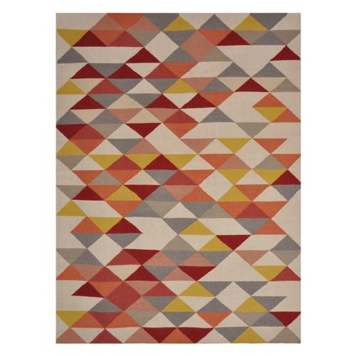 Tapis A Triangles Multicolores : Tapis laine tissé main triangles jaune orange kalmar