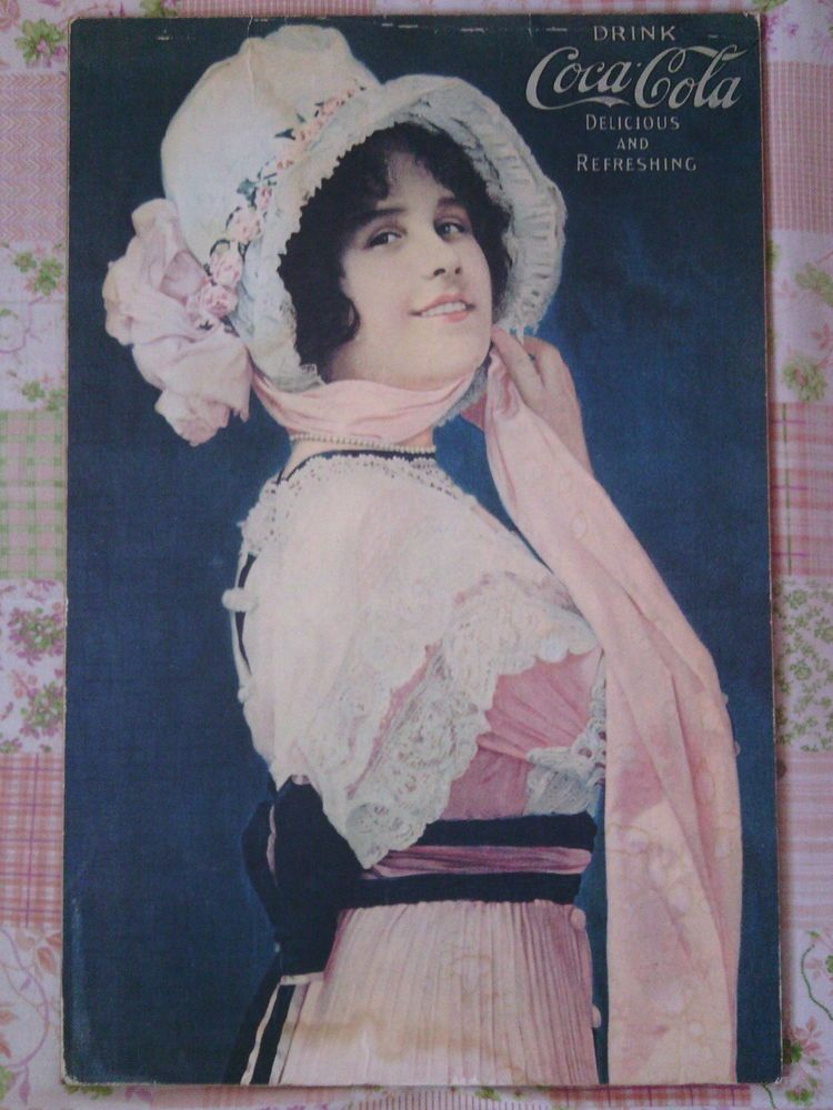 Coca Cola Sign Vintage 1914 Betty Girl Ad Poster on