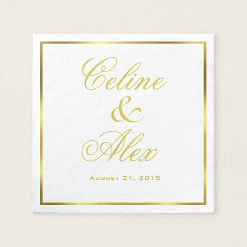 Gold Border Cocktail Choose Your Background Color Napkin