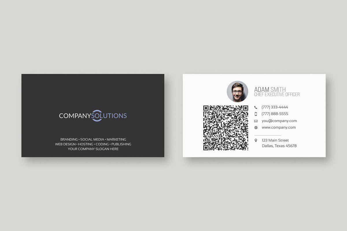 Modern Qr Business Card Template Qr Code Business Card Business Card Fonts Business Card Template