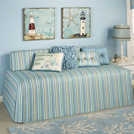 Clearwater Coastal Striped Hollywood Daybed Cover Daybed Covers Daybed Bedding Daybed Bedding Sets