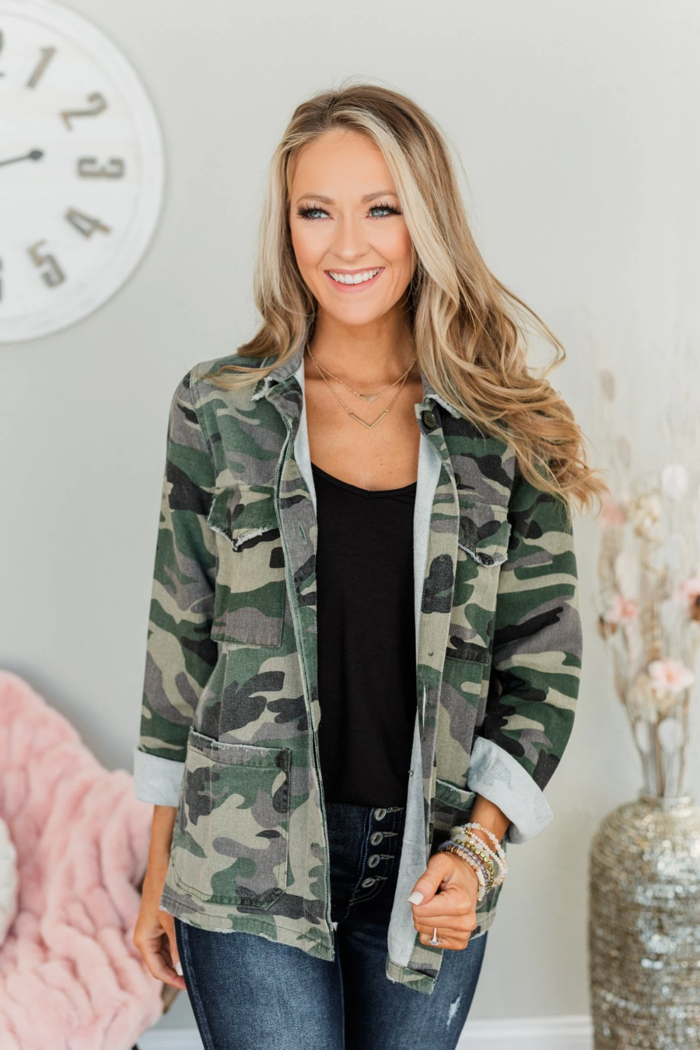 Never Give Up Distressed Denim Jacket Camo In 2021 Distressed Denim Jacket Distressed Denim Camo Jacket Outfit [ 1500 x 1000 Pixel ]