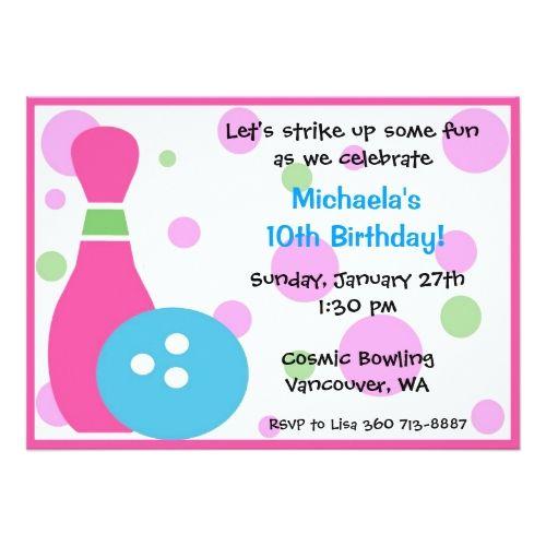 Bowling Birthday Party Invitations Bowling Party -Girl Card - best of invitation card birthday party