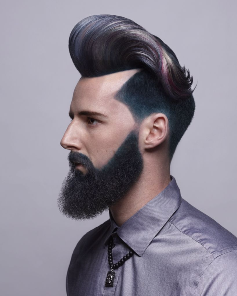 mens pompadour haircut and hair color with colored beard