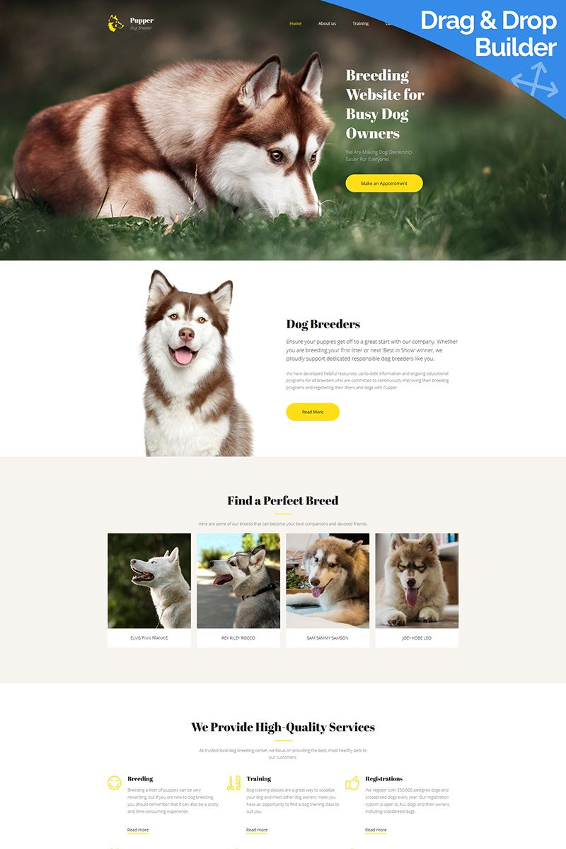 Pupper - Dogs Breeder Premium Moto CMS 3 Template | Dog breeders ...
