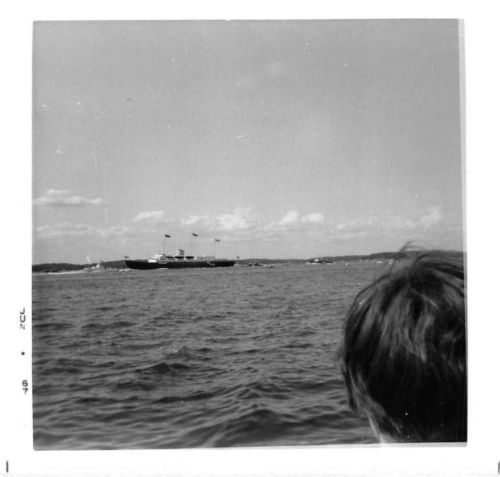Black and White Vintage Snapshot Photograph Ship Ocean Waves Woman 1960's
