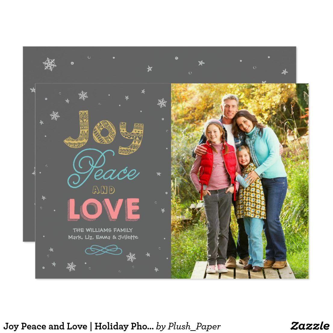 Holiday Photo Card Joy Peace And Love