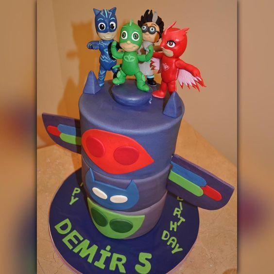 pj masks cake, pijamaskeliler pasta, gekko, owlette, cat