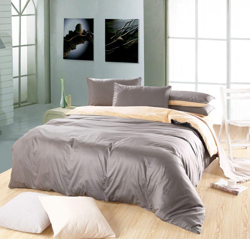 couvre lit gris argent Classique couleur Pure plaine couleurs mélangées 100% coton  couvre lit gris argent