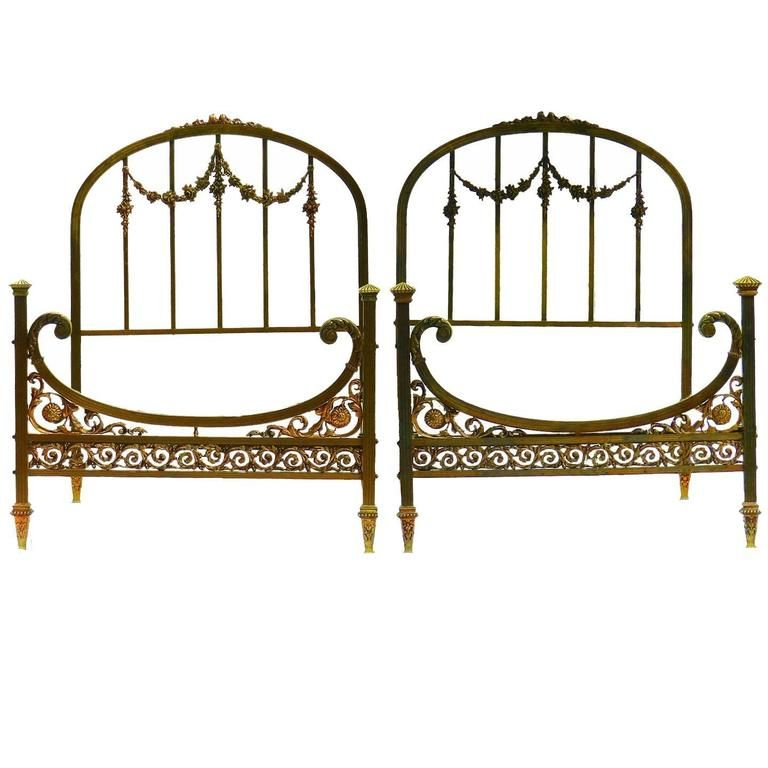 Rare Pair Of Twin Beds Single French Belle Epoque Bronze Iron