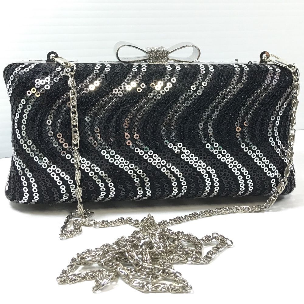 Sequined Evening Bag Clutch Purse Hard Shell Black Silver Metal Chain Strap Bow Unbranded Clutch Coc Evening Clutch Bag Clutch Bag Pattern Silver Clutch Bag