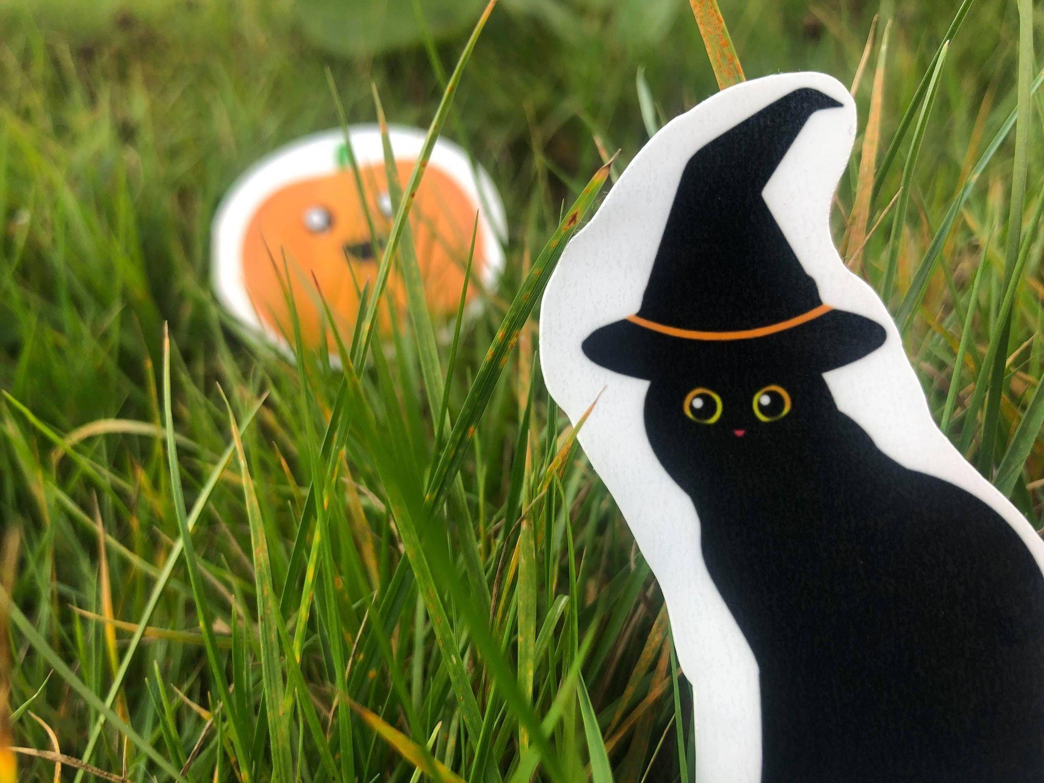 Witch Kitty sticker , Halloween Vinyl Sticker, Medieval Sticker, Horror Sticker, Halloween stickers, water resistant stickers #DndFantasyDecal #KittySticker #GothEmoPunkDecal #BlackVinylSticker #BlackAnimalSticker #WitchWizardHatCat #HalloweenWitchCat #AdorableAnimal #GothicSpookyPet #MediumSizeSticker