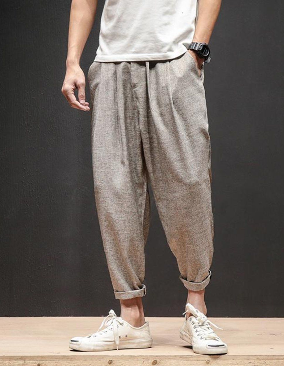 Loose fit linen trousers sirwal in cream linen pants