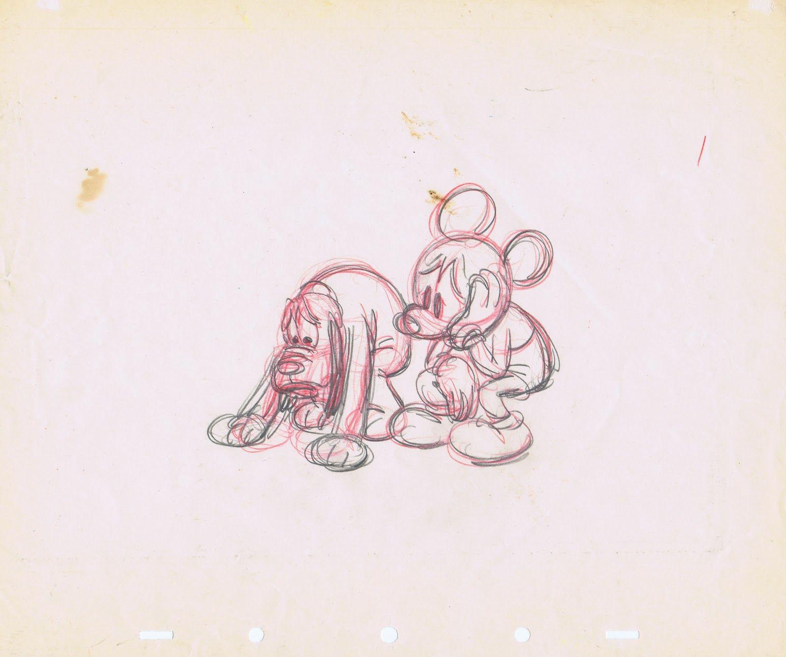 "Photo of Walt Disney Sketches - Pluto & Mickey Mouse for fans of Walt Disney Characters. Walt Disney Sketch of Pluto and Mickey Mouse from the Mickey Mouse Short ""Society Dog Show"" (1939)"