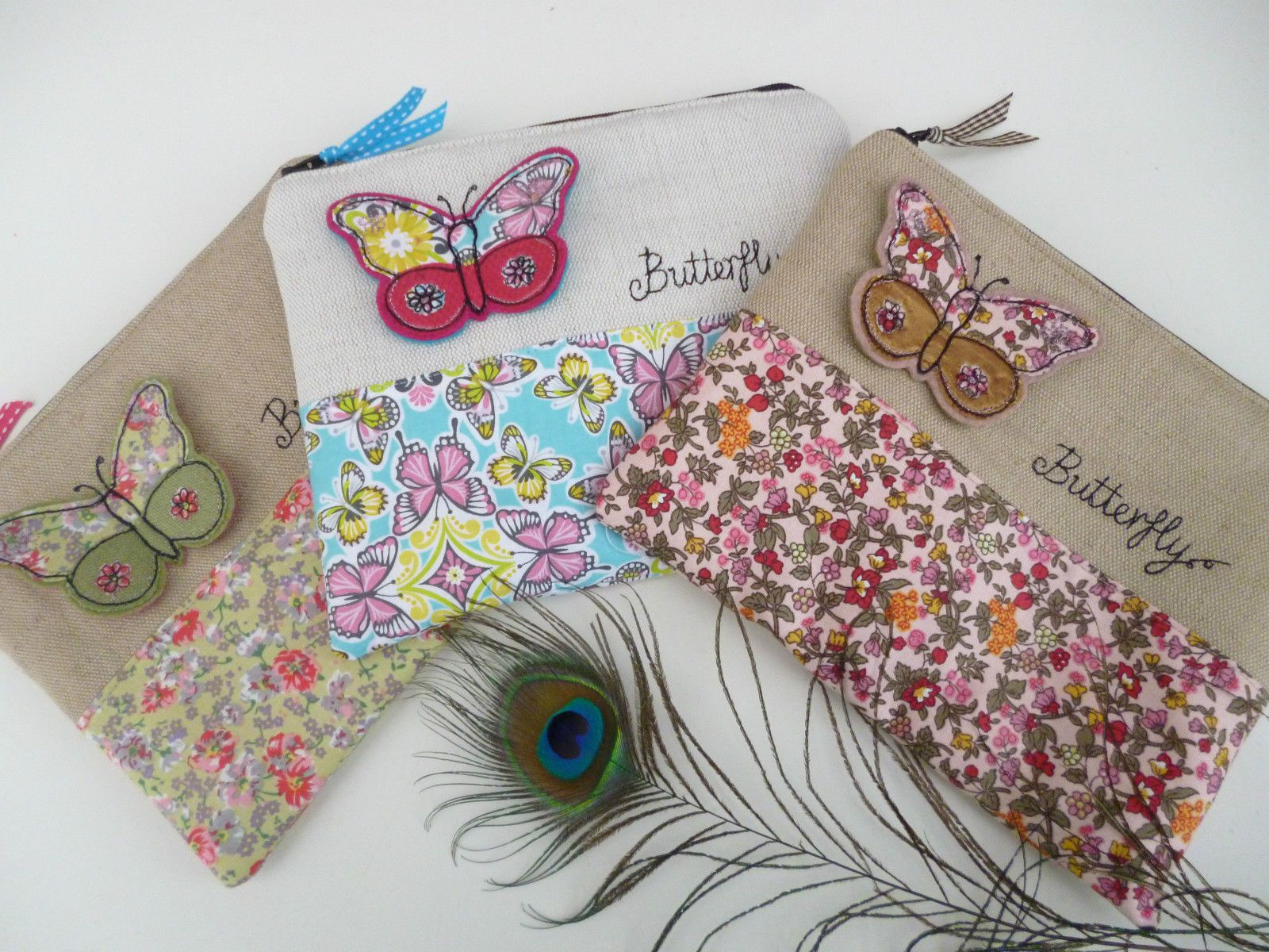 Handmade Makeup Cosmetic Bag, 3D embroidered butterfly design, Pink ditsy floral | eBay