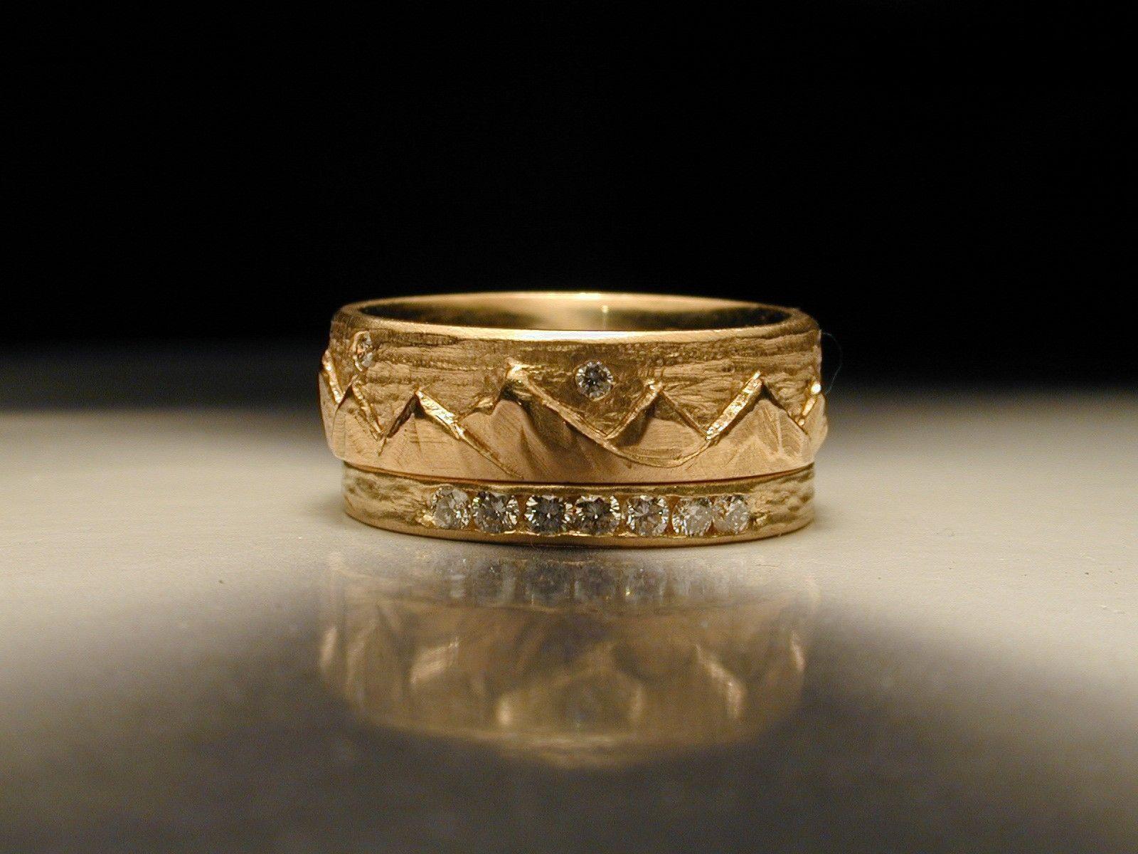 Ring Custom Made Women S Hand Carved Mountain Wedding