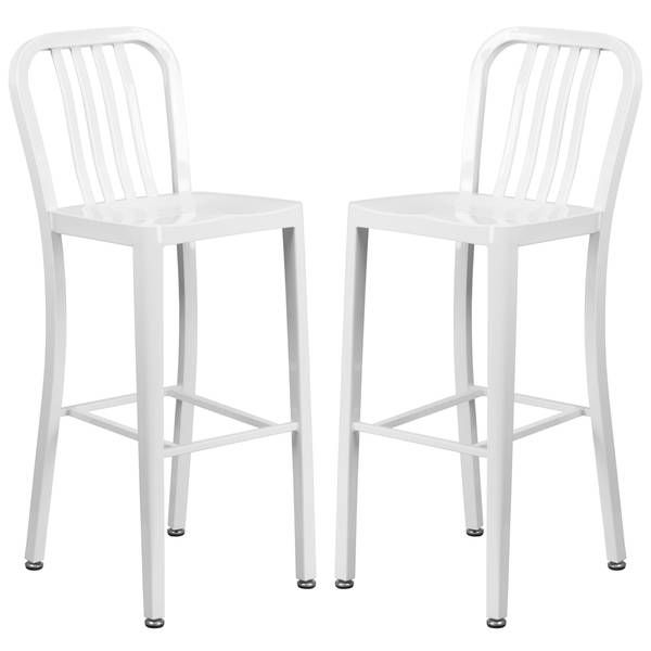 Veronica Slatt Back Design White Metal Barstools The
