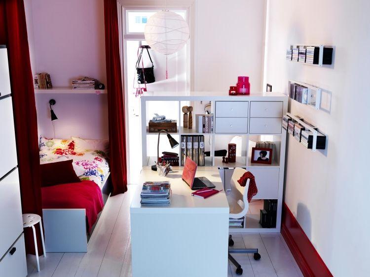 Kleines Zimmer Einrichten Kinderzimmer Weiss Rot Schreibtisch