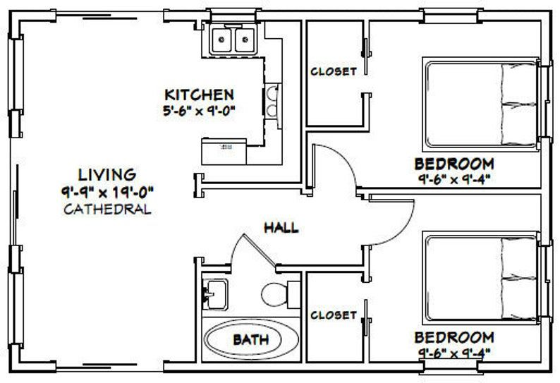 30x20 House 2 Bedroom 1 Bath 600 Sq Ft Pdf Floor Plan Etsy Tiny House Floor Plans 20x30 House Plans Cottage Floor Plans