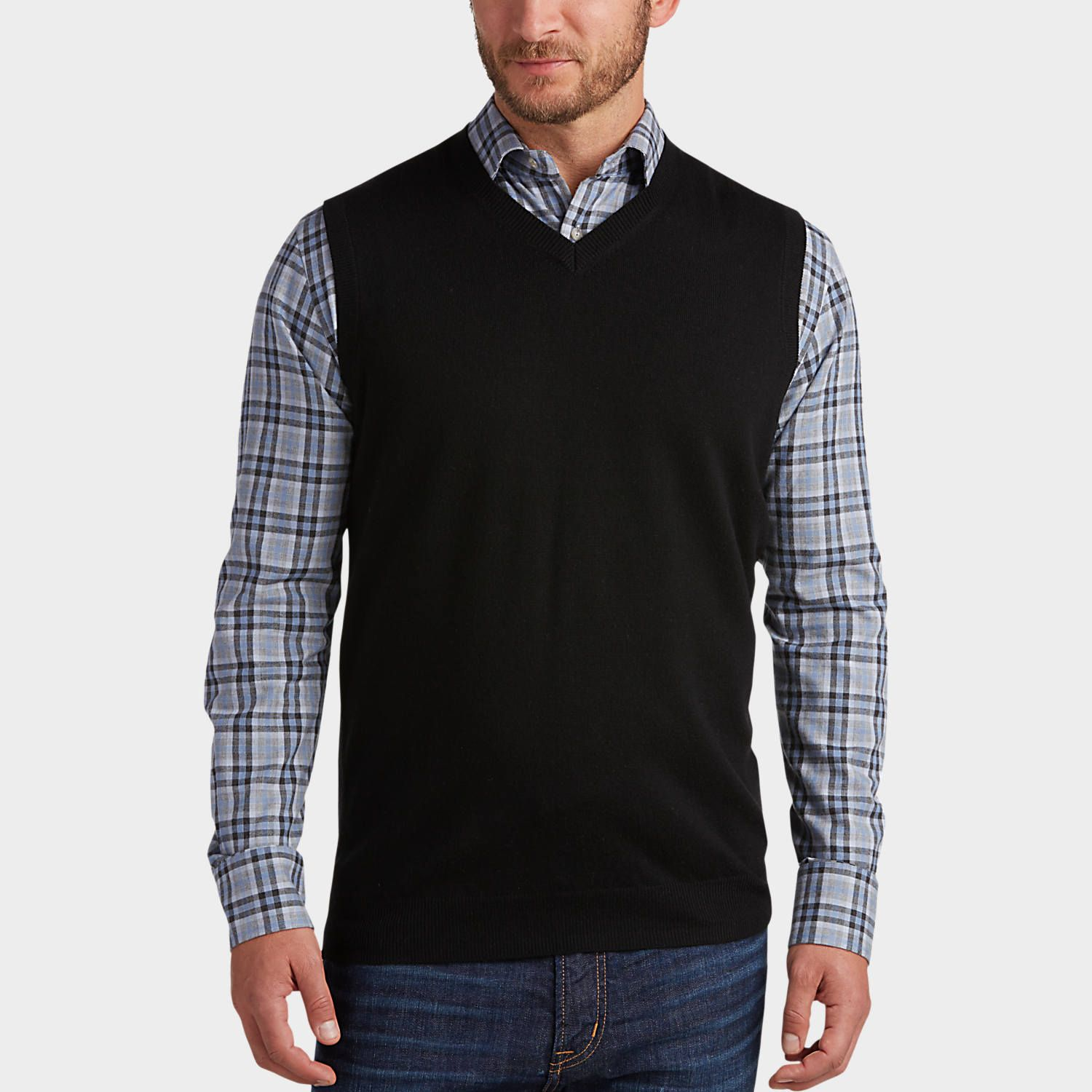 Buy a Joseph Abboud Black V-Neck Modern Fit Sweater Vest and other ...