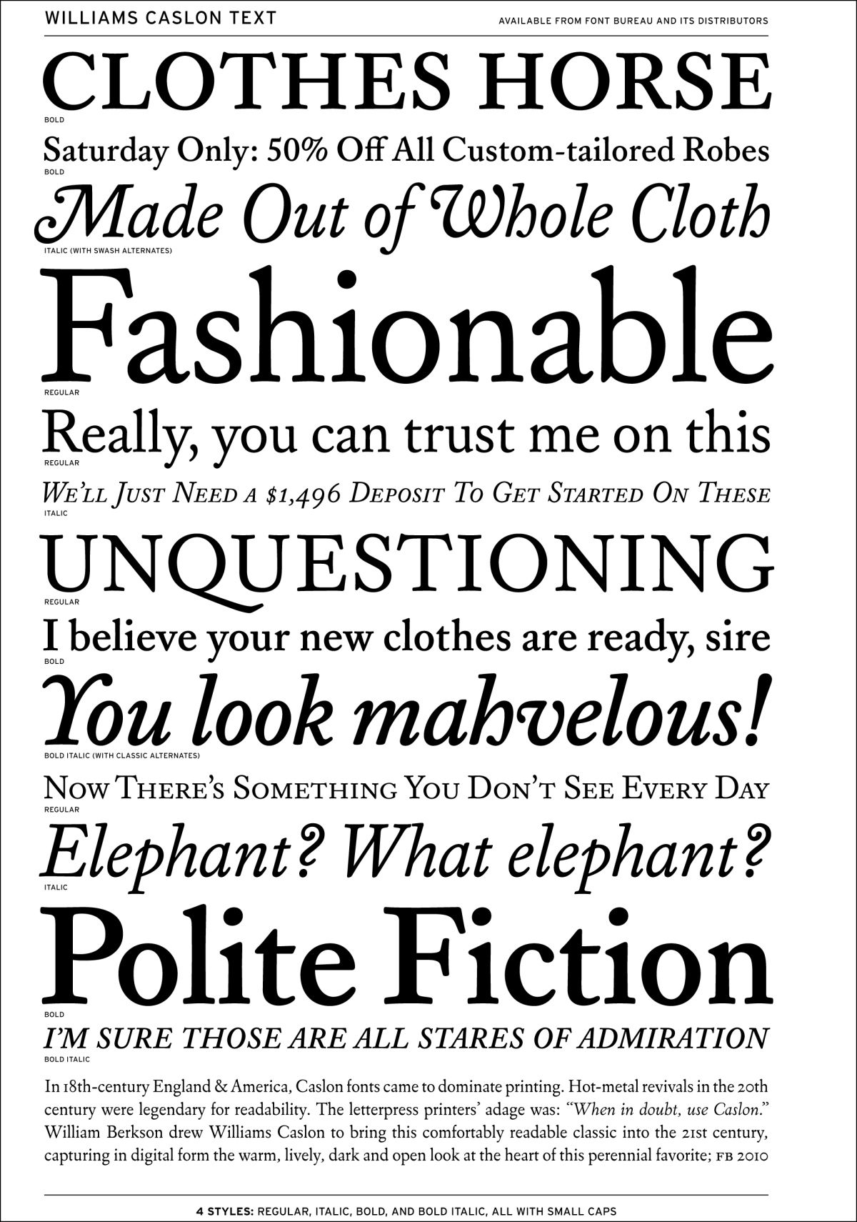 Williams Caslon Text sample | William Caslon | Typography fonts