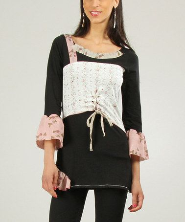 Look what I found on #zulily! Black & Ecru Floral Lace-Up Scoop Neck Tunic by Ian Mosh #zulilyfinds