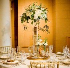 Tall Trumpet Vase Centerpiece With White Florals Wedding Vase
