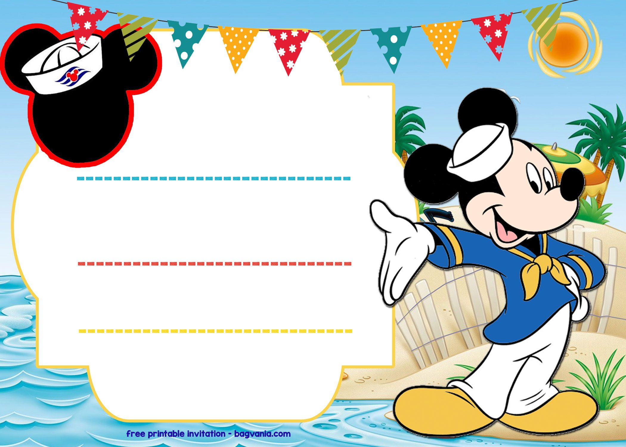 Awesome Free Mickey Mouse Sailor Invitation Template  Free