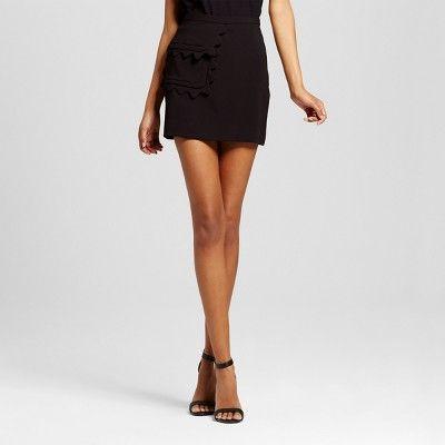 7234113f3b Women's Black Twill Skirt with Scallop Trim Pocket L - Victoria Beckham for  Target