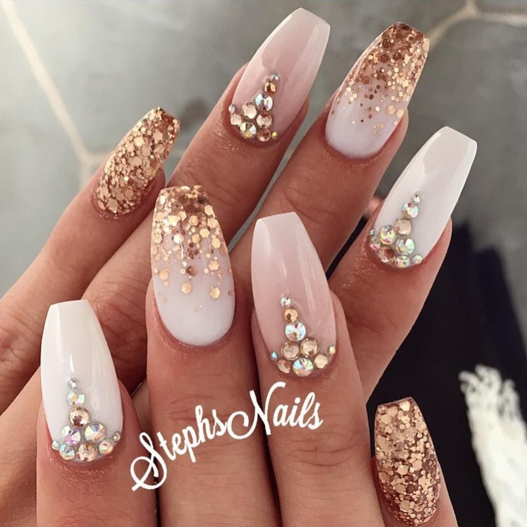 Pale Pink Off White With Glitter And Studs A Beautiful Array Of Creative Nail Designs Gorgeous Nails Rose Gold Nails Gold Nails
