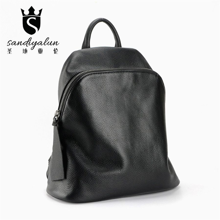 2017 New Soft Genuine Leather Woman Backpack Fashion Black Backpacks  Vintage School Bags For Teenagers High b86140d01aaf2