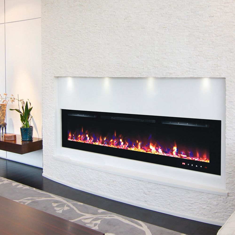 Our Beautiful 72 Inch Truflame Wall Mounted Electric Fire Will Pebbles Logs And Crystals Comes With Thr Wall Mounted Electric Fires Electric Fires Wall Fires