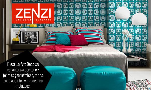 El estilo Art Deco se caracteriza por tener formas geométricas, tonos contrastantes y materiales metálicos. www.zenzi.com.co