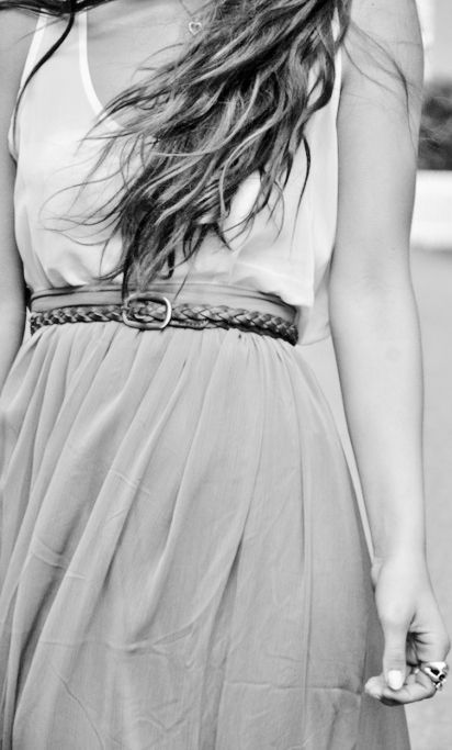 skinny belts and flowy skirts