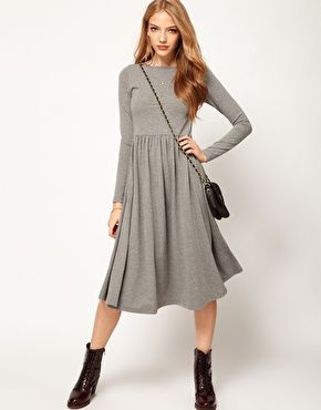 ASOS Midi Dress With Long Sleeve is PERFECT for the colder climate ...