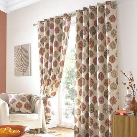 Regan Terracotta Lined Eyelet Curtains Dunelm