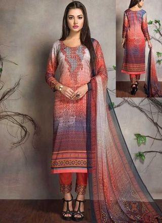 Orange Embroidery Work Cotton Satin Printed Fancy Designer Pakistani Suit
