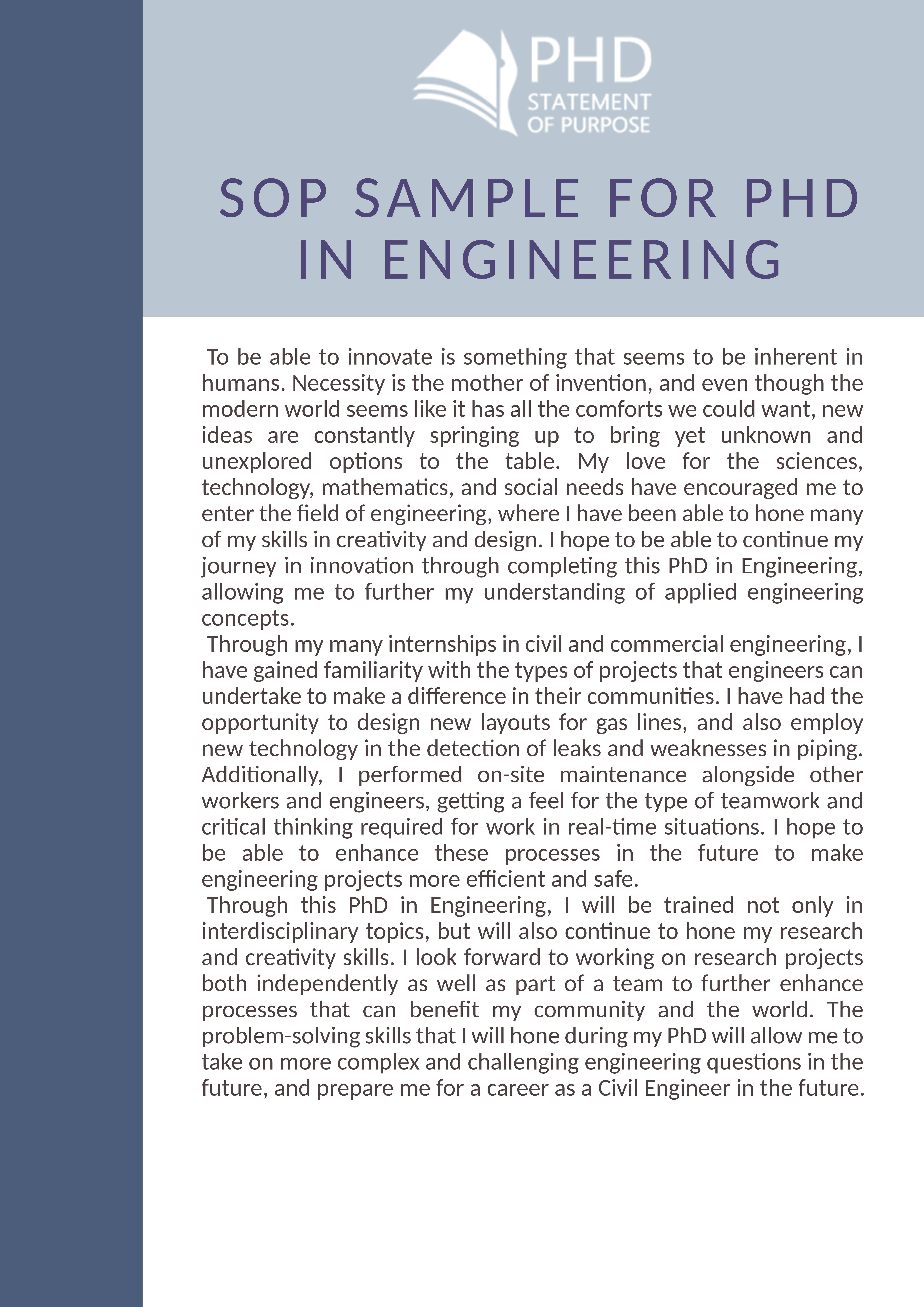 Check this SOP sample for PhD in engineering and learn how