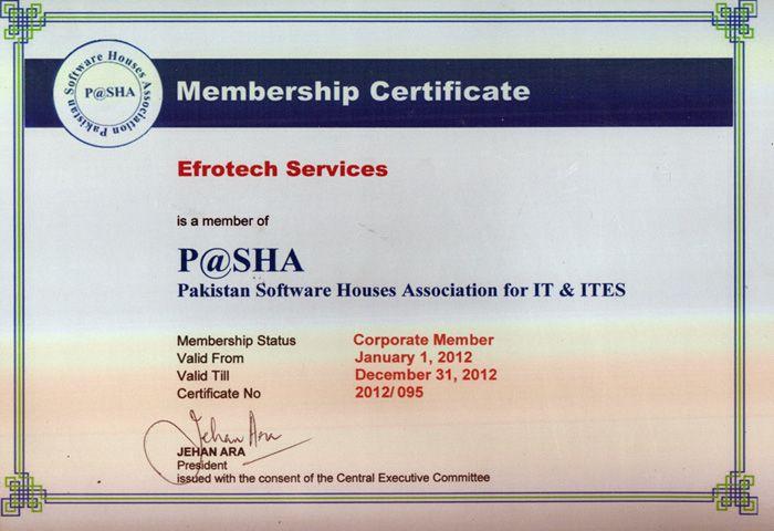 PASHA Membership certification 2012 of EfroTech (TimeTrax HRIS ...