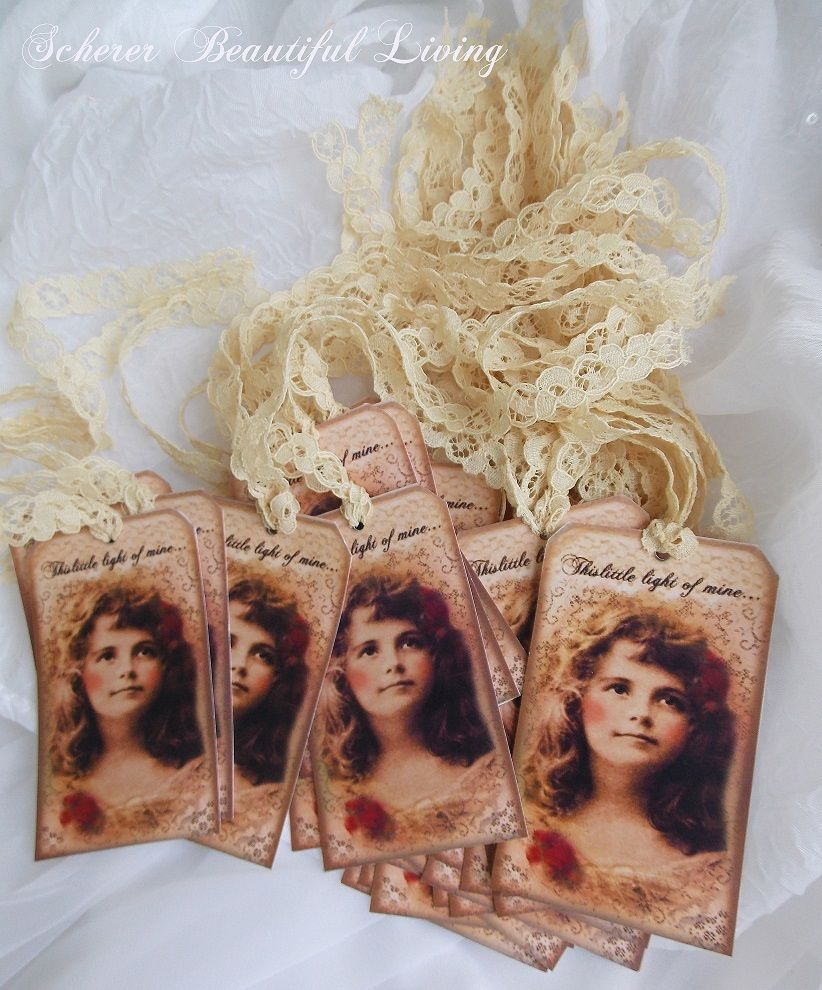 Victorian girl hang tags vintage lace Scherer Beautiful Living