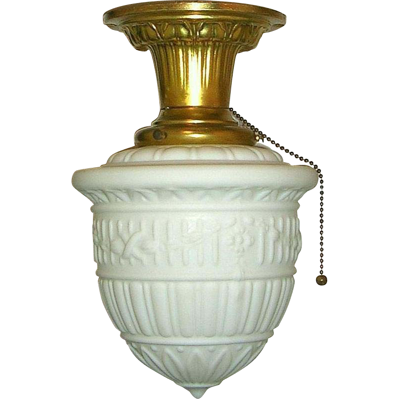 Ceiling Mount Light With Pull Chain Fascinating Vintage Neoclassical Milk Glass Flush Mount Ceiling Fixture  Milk Review