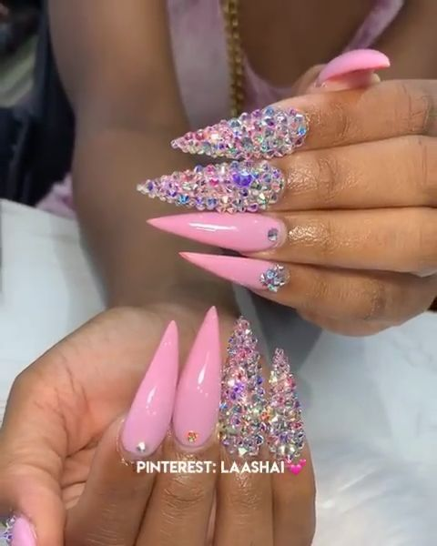 Awesome The Pink Nail Bringing The Strongest Spring Feeling 2020 In 2020 Acrylic Nails Stiletto Nails Design With Rhinestones Pink Stiletto Nails