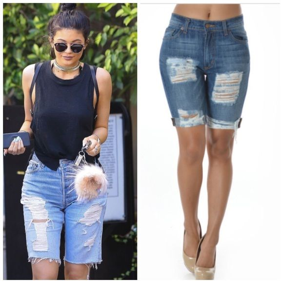 Sexy ripped distressed cuffed Bermuda shorts Sexy medium wash ...