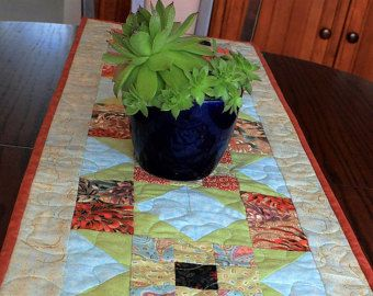 Patchwork Quilted Green U0026 Cream Table Runner, Sage Green Table Decor,  Handmade Runner, Table Topper