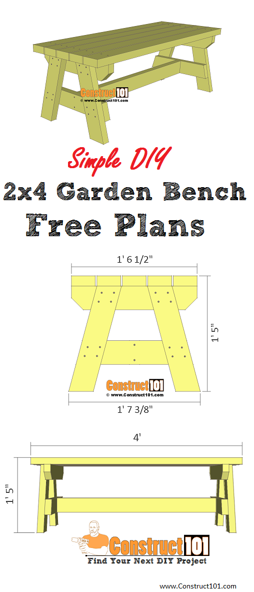 Simple 2x4 Garden Bench Plans Diy Project Includes Free Pdf Material List Drawings And Step By Step Deta Garden Bench Plans Garden Bench Garden Bench Diy