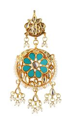 Antique gold finish turquoise coin fringe earrings
